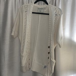 Guess Ivory/off white short sleeve sweater small